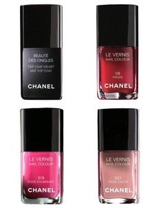 Toap Coat Velvet Chanel et Vernis 08 Pirate, 519 Rose Exubérant, 521 Rose Caché