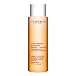 Nettoyer sa peau en douceur avec la Lotion Douce Tonifiante Peaux Sèches ou Fragilisées de Clarins